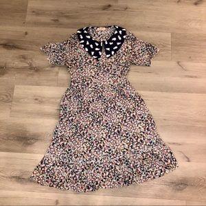 floral bunny collar dress EUC